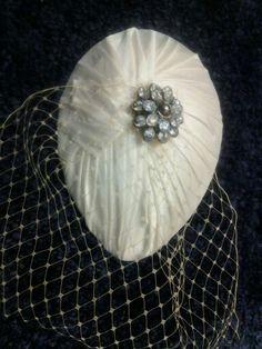 Bridal Ivory Silk Pleated Teardrop Fascinator, Vintage Styled Headpiece, Bridal hat,bridal hair accessory , Old Hollywood, Birdcage veiling via Etsy