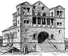 Basílica de Turmanim. Siria, siglo V. Introduce las novedades de las torres franqueando la fachada, que carece de atrio, dándole un aspecto monumental.