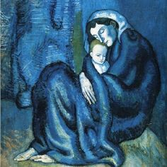 """""""Mother and Child"""".Artist: Pablo Picasso Completion Date: 1902 Style: Expressionism, Symbolism Period: Blue Period Genre: genre painting Technique: oil Material: canvas Dimensions: x cm Gallery: Fogg Art Museum, Cambridge, Massachusetts, USA. Pablo Picasso, Kunst Picasso, Art Picasso, Picasso Blue, Picasso Paintings, Picasso Drawing, Picasso Style, Abstract Paintings, Oil Paintings"""