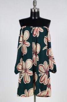 Santa Barbara Green Floral Off The Shoulder Dress - BohoPink
