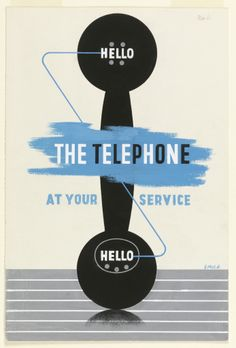 "Drawing, ""Poster Design: ""Hello--the Telephone at your Service,"" (for the General Post Office, England)"", April 9, 1937"