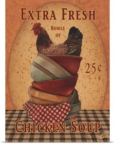 Country chicken artwork by noted painter Gloria West. Chicken Painting, Chicken Art, Chicken Soup, Fresh Chicken, Rooster Art, Rooster Decor, Rooster Images, Posters Vintage, Vintage Labels