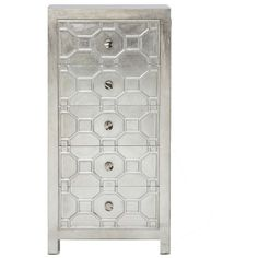 Alvarez Silver Lacquered 5 Drawer Tallboy ($830) ❤ liked on Polyvore featuring home, furniture, storage & shelves, dressers, lacquer dresser, five drawer dresser, 5 drawer dressers and lacquer furniture