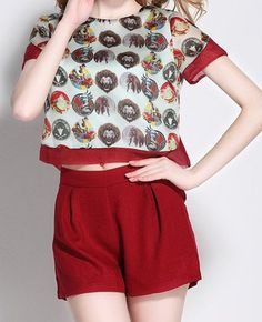 Vintage Round Neck Short Sleeve Printed T-Shirt + Solid Color Shorts Women's Twinset