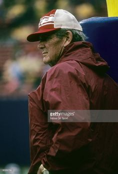 Head Coach Paul 'Bear' Bryant of the Alabama Crimson Tide leans up against the goal post and watches his team warm up before an NCAA football game against Rutgers University October 11, 1980 at Giant Stadium in East Rutherford, New Jersey. Alabama won the game 17-13. Bryant coached at Alabama from 1958-82.