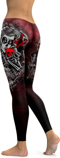 This Dead of The Day give your wardrobe an upgrade with a seriously gorgeous Sugar Skull Leggings! The mysteriously sexy print of a female skull kissing the forbidden apple makes this leg fashion piec Gothic Leggings, Skull Leggings, Floral Leggings, Women's Leggings, Printed Leggings, Leggings Store, Cheap Leggings, Tights, Workout Leggings