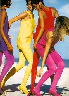 "Editorial: ""The news: live in color""  Photographer: Patrick Demarchelier  Magazine: VOGUE US, March 1991  Models: Nadege du Bospertus, Niki Taylor, Karen Mulder"