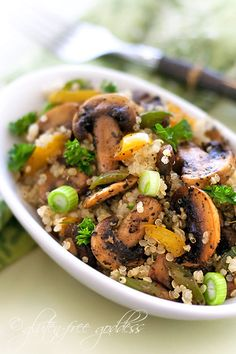 Quinoa Mushroom Pilaf Great idea for a new side at the holiday table