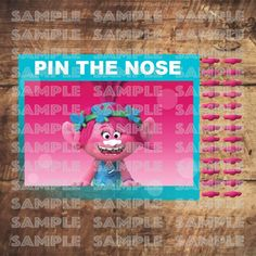 TROLLS PARTY GAME,Poppy Pin The Nose, Pink Trolls movie Party decor by TRUSTITI on Etsy