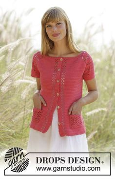 """Crochet DROPS jacket with lace pattern and raglan in """"Safran"""". The piece is worked top down. Size: S - XXXL. Free pattern by DROPS Design."""