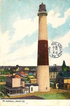 Atlantic City New Jersey NJ 1905 Absecon Lighthouse Antique Vintage Postcard