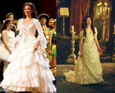 I love the wedding dresses from both the stage production (left) and the 2004 movie (right). However, I prefer the movie version. Emmy Rossum looks extremely gorgeous in it.