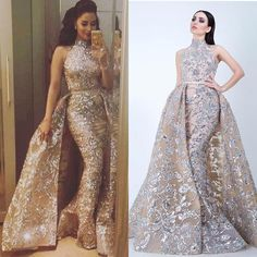 sparkly evening dresses with detachable skirt silver appliqué high neck modest elegant evening gown robe de soiree Hijab Evening Dress, Gold Evening Dresses, Green Evening Dress, V Neck Prom Dresses, Cheap Prom Dresses, Evening Gowns, Formal Dresses, Formal Prom, Dinner Gowns