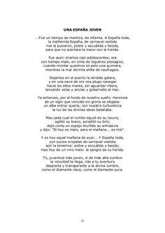 ''Una España joven'' forma parte también del libro ''Campos de Castilla'' que fue publicado en 1912.  Aquí nos llama la atención otro tema que solía tratar Machado en este libro (aparte de los paisajes) y era la situación de España. Nos ha llamado la atención como describe España tan minuciosamente y la compara con la juventud.