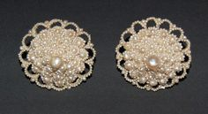 VICTORIAN SEED PEARL EARRINGS - Very Large / Non Pierced / Domed