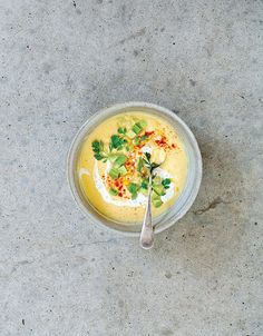 Esquites and Yellow Tomato Gazpacho from the book Seven Spoons by Tara O'Brady | Design*Sponge