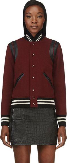 Saint Laurent - Burgundy Wool Teddy Bomber Jacket