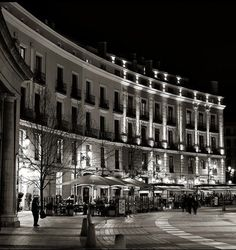 Plaza de Oriente at night, Madrid, Spain