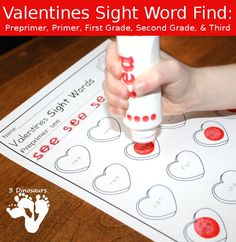 Valentines Sight Word Finds - It has the following Dolch Preprimer, Primer, First Grade Second Grade and Third Grade. There is trace the word and dot the word - These are a great no prep printable. $ - 3Dinosaurs.com