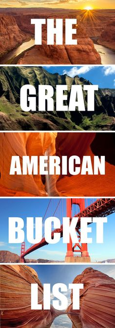 The great american bucket list. 20 amazing places in the USA you have to visit before you die. Travel in North America.