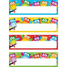 Owl Classroom Theme: desk tags - would be adorable return address labels. I will type vertical name labels, stick on each one and laminate as bookmarks for students. Or type an encouraging 'literacy' quote! I love to read! I can read! Owl Theme Classroom, Classroom Labels, Classroom Organisation, Classroom Displays, Future Classroom, School Classroom, Classroom Ideas, Owl Name Tags, Desk Tags