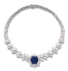 A SAPPHIRE AND DIAMOND NECKLACE, BY ASPREY The cushion-shaped sapphire weighing carats within a cluster surround to the pear-shaped and brilliant-cut diamond sides, mounted in platinum, cm long Signed Asprey Blue Sapphire Necklace, Diamond Necklace Set, Sapphire Jewelry, Diamond Jewelry, Sapphire Diamond, Modern Jewelry, Fine Jewelry, Beautiful Necklaces, Pendant