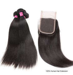 Peruvian Straight Human Hair 4 Bundles With Closure With Baby Hair Free Middle Three Part Virgin Remy Hair Weave Bundles