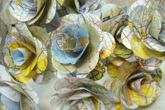 Handmade Map Paper Flowers for Wedding Decor - I love everything map related, this is great!