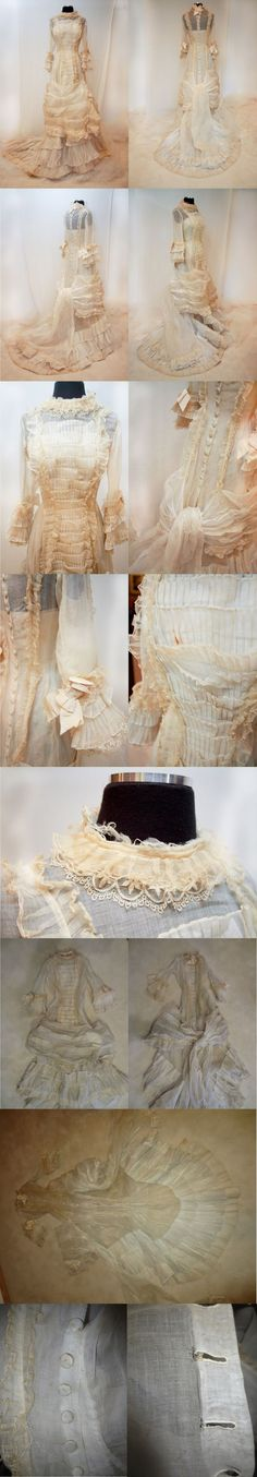 Gown from the mid to late - early it is made from organza with pleats and is lace-trimmed./all that time to create that beauty 1870s Fashion, Edwardian Fashion, Vintage Fashion, French Fashion, Historical Costume, Historical Clothing, Vintage Gowns, Vintage Outfits, Old Dresses