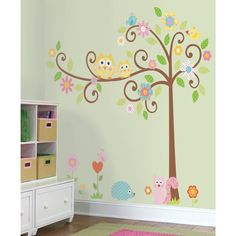 Beautiful and trendy woodland themed wall decals. Perfect way to easily decorate a baby girl's nursery.