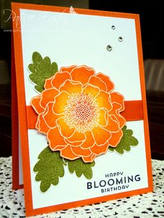 Spring Blossom Musings: Blended Bloom Birthday - sponged, Pumpkin Pie, Daffodil Delight and Old Olive.
