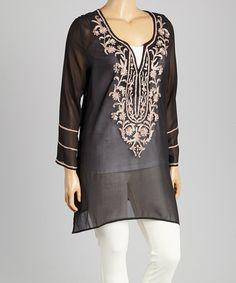 Look at this #zulilyfind! Black & Taupe Embroidered Tunic - Plus by CLUB Z #zulilyfinds