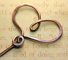 Hammered Copper Swirly Heart Stick Pin by AllowingArtDesigns, $14.00