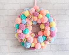 Easter Pom Pom Wreath with Bunnies and Chicks Bright Easter   Etsy Pom Pom Wreath, Christmas Pom Pom, Christmas Door, Halloween Ornaments, Fall Halloween, Pumpkin Ornament, Coffee Filter Wreath, Different Shades Of Green