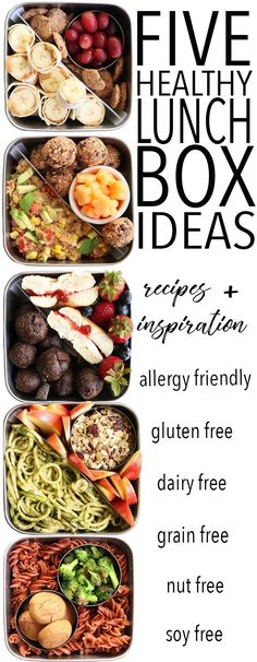 Feb 2020 - Ditch your boring sandwich and try these FIVE Fun and Healthy Lunch Box Ideas! They're all gluten free, dairy free, and allergy friendly! It is possible for your children to grow healthy, make home meals more enjoyable wi Dairy Free Recipes For Kids, Free Kids Meals, Healthy Meals For Kids, Healthy Snacks, Healthy Eating, Healthy Recipes, Diet Recipes, Dairy Free Lunches, Gluten Free Lunch Ideas
