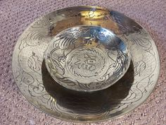 10 & 6 diameter Brass bowls with Etched Dragons on by ECCENTRICRON