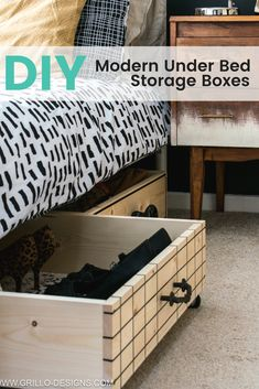 How to make a diy under bed storage box on wheels for small bedrooms / Grillo Designs www.grillo-designs.com