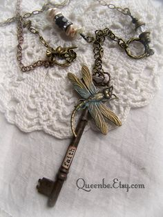 Altered Dragonfly and Skeleton Key Necklace  by QueenBe