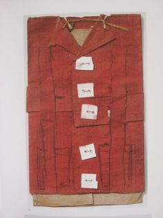 """James Castle ~ """"Red jacket with white buttons"""" construction of cardboard, cream paper, string, ribbon redwash soo and spit via ArtStack"""