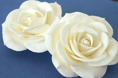 2 Ivory/White Bridal Roses Fascinator Wedding Bridal Hair Accessory Flower a. $45.00, via Etsy.
