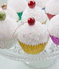 """styrofoam ball, glitter, cupcake liner, and a """"cherry"""" awesomee"""