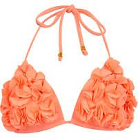 Coral flower stud halter neck bikini top