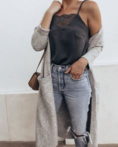like the fit and style of this whole outfit, but I wouldn't usually wear a cardigan that long
