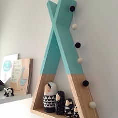 Teepee Shelf Mint Shelves Woodland Nursery Decor by AhAhOnline