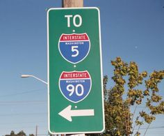 Washington - interstate 5 and interstate 90 sign.