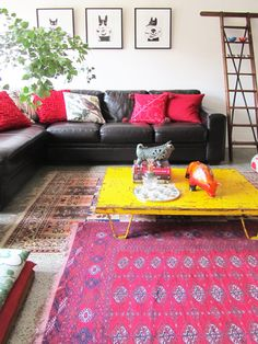Love The Color Contrast And Ladder Layering Rugs Yellow Table Pink Rug