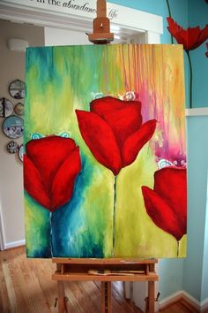 This would be a fun one to try: tulip painting Acrylic Canvas, Canvas Art, Canvas And Cocktails, Tulip Painting, Paint And Sip, Art Techniques, Love Art, Painting Inspiration, Diy Art