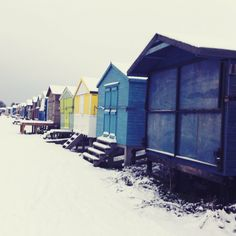 Beach huts in snow - Seasalter - Whitstable - Kent