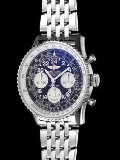 Worn in 1962 by Scott Carpenter during his three orbits around the Earth, this is the first space-going chronograph. Gents Watches, Cool Watches, Watches For Men, Breitling Navitimer, Breitling Watches, Luxury Watches, Chronograph, Jewelery, Fashion Accessories
