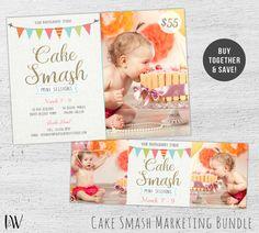 Cake Smash Mini Session Template, Cake Smash Marketing Board, Facebook Template, Facebook Timeline Cover, Photoshop Template, - 01-007